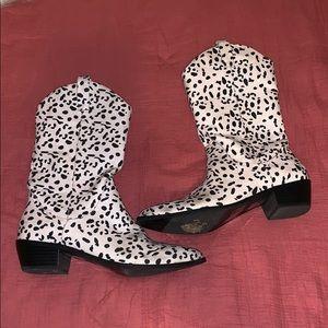 Cowboy Boots Dalmatian Print